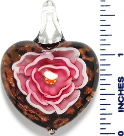 Glass Pendant Heart Flower Black Gold Pink PD3532