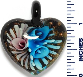 Glass Pendant Heart Flower Black Gold Sky Blue Purple PD3533