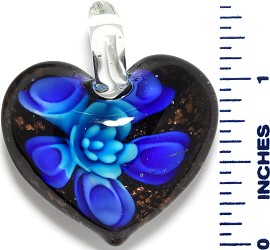Glass Pendant Heart Flower Black Gold Sky Blue PD3534