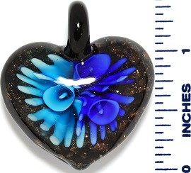 Glass Pendant Heart Flower Black Gold Sky Blue PD3536