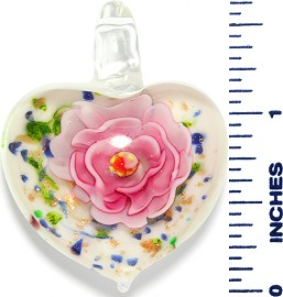 Glass Pendant Heart Flower White Gold Pink PD3539