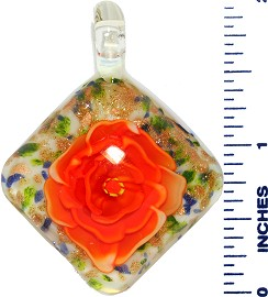 Glass Pendant Square Flower White Gold Orange PD3541
