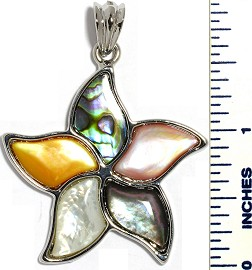 Abalone Pendant Flower Silver Multi Color PD3558