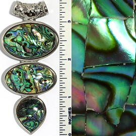 Abalone Pendant Oval Green PD3590