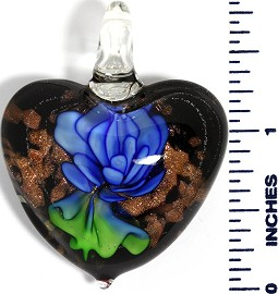 Glass Pendant Flower Heart Black Gold Green Blue PD3595