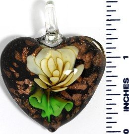 Glass Pendant Flower Heart Black Gold Green Yellow PD3596