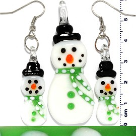 Glass Pendant Earrings Snowman Green White PD3603