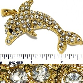 Crystal Rhinestone Pendant Dolphin Gold PD3618