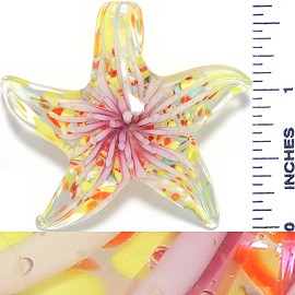 Glass Pendant Flower Starfish Yellow Pink PD3673