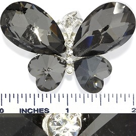 Crystal Pendant Butterfly Black Silver PD3733