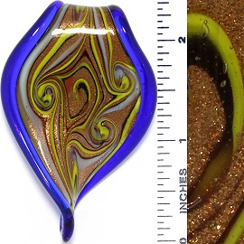Glass Pendant Leaf Twist Tip Blue Gold PD3747