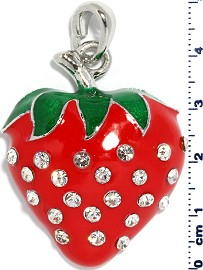 Rhinestone Pendant Strawberry Red PD3858