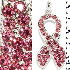 Rhinestone Pendant Ribbon 55mm Tall Silver Pink PD3861