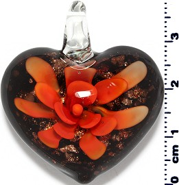 Glass Pendant Flower Heart Black Gold Orange PD3862