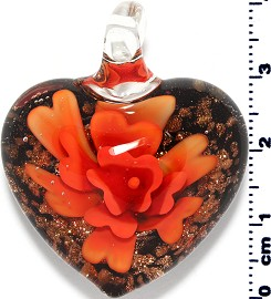 Glass Pendant Flower Heart Black Gold Orange PD3863