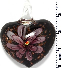 Glass Pendant Flower Heart Black Gold Purple PD3866