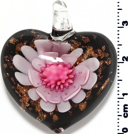 Glass Pendant Flower Heart Black Gold Pink PD3868