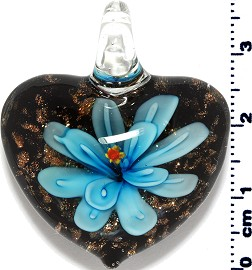 Glass Pendant Flower Heart Black Gold Turquoise PD3869