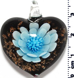 Glass Pendant Flower Heart Black Gold Turquoise PD3870