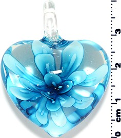 Glass Pendant Flower Heart Clear Turquoise PD3873