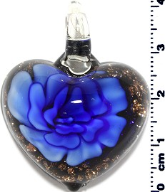 Glass Pendant Flower Heart Black Gold Blue PD3878