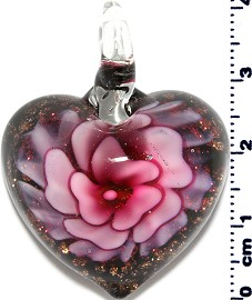 Glass Pendant Flower Heart Black Gold Pink PD3880
