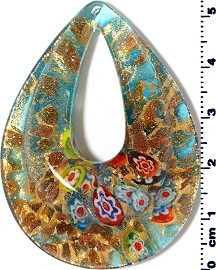 Glass Pendant Oval Point Gold Turquoise PD3915