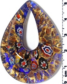 Glass Pendant Oval Point Gold Blue PD3919
