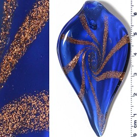 Glass Pendant Spear Head Gold Blue PD3929