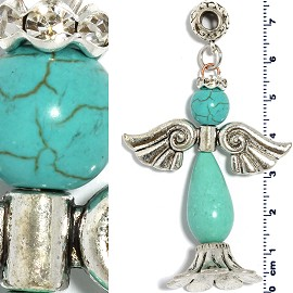 Earth Pendant Rhinestone Angel Turquoise PD3938
