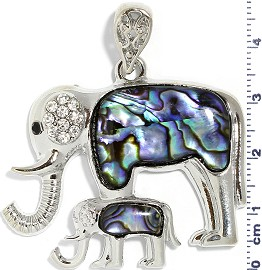 Abalone Pendant Parent Baby Elephant Green Silver PD3992