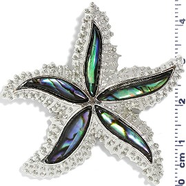 Abalone Pendant Starfish Green Silver PD3993 - Click Image to Close