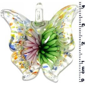Glass Butterfly Pendant Green Pink PD3998