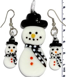 Glass Pendant Earrings Snowman Black White PD400
