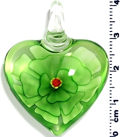 Glass Heart Green Flower Pendant PD4007