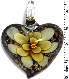 Glass Heart Yellow Black Flower Pendant PD4011