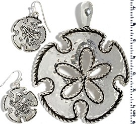 Set Pendant Earring Silver Sand Dollar PD4022