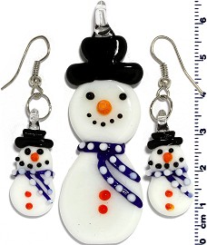 Glass Pendant Earrings Snowman Dark Blue White PD403