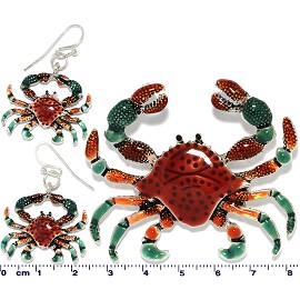 Metallic Earrings Pendant Set Sea Crab Red Green PD4036