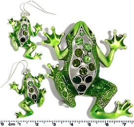 Set Pendant Earring Green Frog PD4037