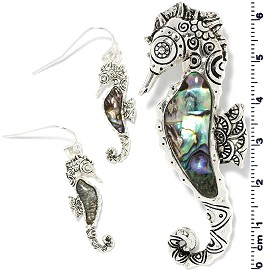 Set Earring Pendant Abalone Silver Green Seahorse PD4040 - Click Image to Close