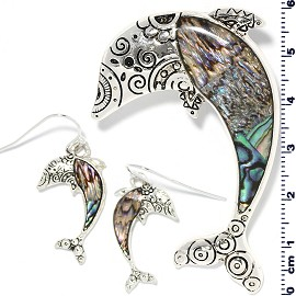 Set Earring Pendant Abalone Silver Green Dolphin PD4041