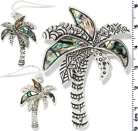 Set Earring Pendant Abalone Silver Green Palm Tree PD4042