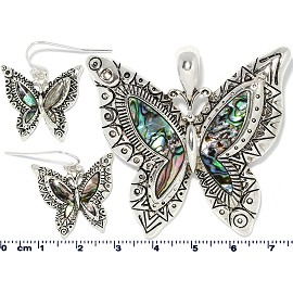 Set Earring Pendant Abalone Silver Green Butterfly PD4046