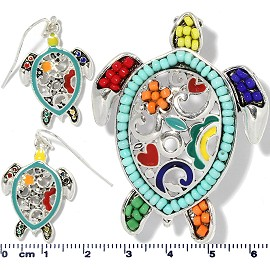 Sea Turtle Pendant Earrings Beads Multi Color Turquoise PD4054