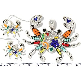 Crab Pendant Earrings Beads Multi Color Orange Red Silver PD4055