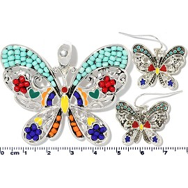 Butterfly Pendant Earrings Beads Multi Color Turquoise PD4056