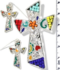 Cross Pendant Earrings Beads Multi Color Red Blue Yellow PD4058