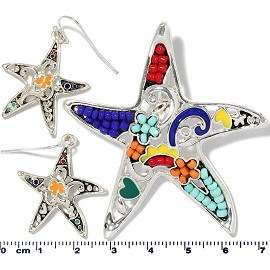 Starfish Pendant Earrings Beads Multi Color Red Blue PD4060