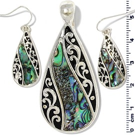 Tear Drop Abalone Pendant Earrings Green Black Silver PD4063